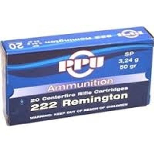 Prvi PPU 222 Rem Ammunition PP21 50 Grain Soft Point 20 Rounds