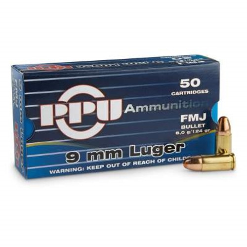 Prvi PPU 9mm Luger Ammunition PPR95 124 Grain Full Metal Jacket Case of 1000 Rounds