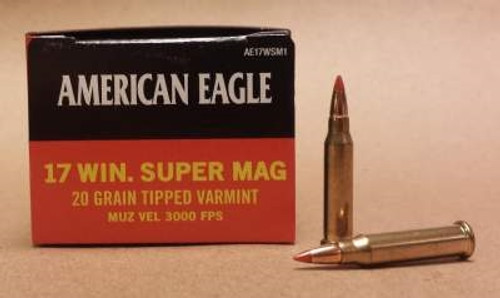 Federal 17 WSM Ammunition American Eagle AE17WSM1 20 Grain Tipped Varmint 3000 FPS Case of 500 Rounds