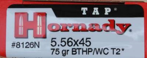 Hornady 5.56x45mm NATO Ammunition T2 TAP H8126N 75 Grain Boat Tail Hollow Point 20 rounds