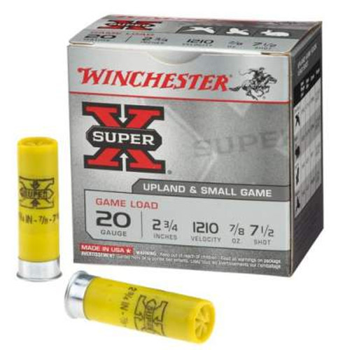 "Winchester 20 GA Super-X XU207 2 3/4"" 7-1/2 shot 7/8 oz 1210fps 25 rounds"