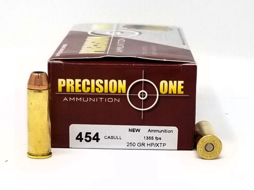Precision One 454 Casull Ammunition 250 Grain XTP Jacketed Hollow Point 50 rounds