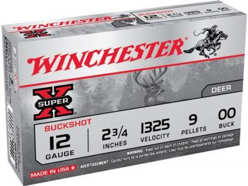 "Winchester 12 Gauge Ammunition Super-X XB1200 2-3/4"" 00 Buck 9Pellets 1325fps 5 Rounds"