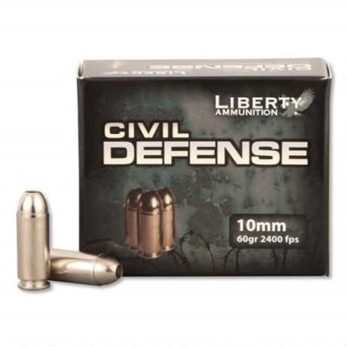Liberty Ammo 10mm Ammunition Civil Defense LACD10032 60 Grain Fragmenting Hollow Point 20 rounds