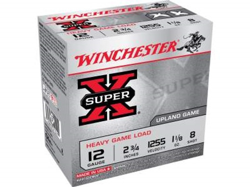 """Winchester 12 Gauge Ammunition Heavy Upland Game XU12H8 2-3/4"""" 1-1/8oz #8 1255fps 250 rounds"""