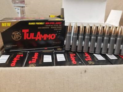 Tula 7.62x39mm Ammunition Range-Friendly Non-Magnetic Projectile UL076215 122 Grain Full Metal Jacket 40 rounds