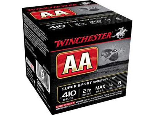 """Winchester 410 Bore AA Super Sport Sporting Clays AASC418 2-1/2"""" 1/2 oz #8 Shot 1300fps CASE of 250 rounds"""