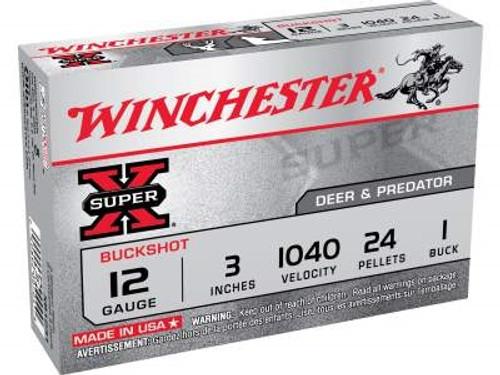 "Winchester 12 Gauge Ammunition XB1231 3"" 1 Buckshot 24 Pellets 1040fps 5 rounds"