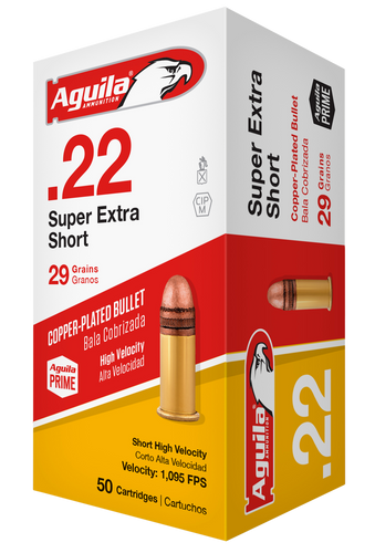 Aguila 22 Short Ammunition SuperExtra 1B222110 High Velocity 29 Grain Copper Plated Round Nose 50 rounds