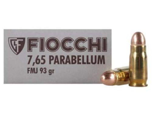 Fiocchi 30 Luger Ammunition FI765A 93 Grain Full Metal Jacket 50 rounds