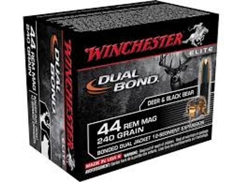 Winchester 44 Magnum Ammunition S44RMDB Dual Bond 240 Grain Jacketed Hollow Point 20 rounds