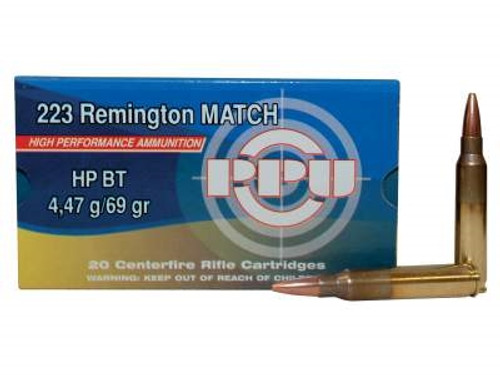 Prvi PPU 223 Rem Match Ammunition PP57 69 Grain Boat Tail Hollow Point 20 Rounds