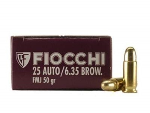 Fiocchi 25 Auto Ammunition FI25AP 50 Grain Full Metal Jacket 50 rounds