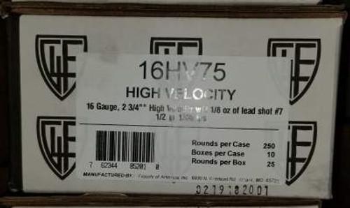 "Fiocchi 16 Gauge Ammunition 16HV75 High Velocity 2-3/4"" #7.5 1-1/8oz 1300 fps Case of 250 Rounds"