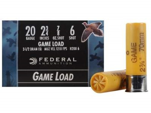 "Federal 20 Gauge Ammunition Game-Shok H2006 2-3/4"" 6 Shot 7/8oz 1210 FPS Case of 250 Rounds"