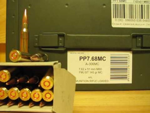 Prvi PPU 7.62x51mm M80 Ammunition PP768 145 Grain Full Metal Jacket Ammo Can 500 Rounds