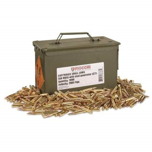 Fiocchi 5.56x45mm NATO Ammunition M855 62gr FMJ Penetrator with Ammo Can 1,000 rounds