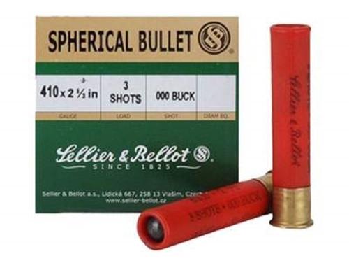 """Sellier & Bellot 410 Ammunition SB410A 2-1/2"""" 1256 fps 3 pellets 000 BUCK 25 rounds"""