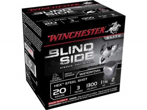 "Winchester 20 GA Blind Side SBS2032 Ammunition 3"" 1-1/16 oz #2 1300fps Non-Toxic Steel Shot 250 rounds"