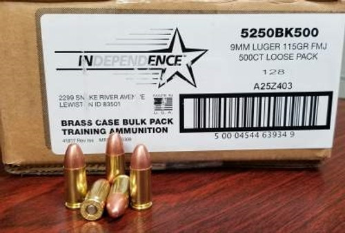 federal 9mm independence ind5250bk500 115 grain full metal jacket