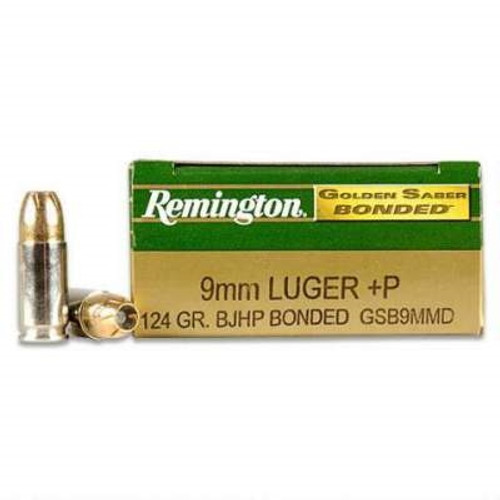 Remington 9mm +P Ammunition Golden Saber GSB9MMD 124 Grain Bonded Jacketed Hollow Point 50 rounds