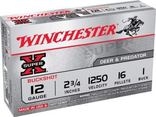 """Winchester 12 Gauge Ammunition XB121 2-3/4"""" 1 Buck Shot 16 Pellets 1250fps 5 rounds"""