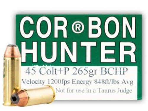 Corbon 45 Long Colt +P Ammunition Hunter HT45C265BHP20 265 Grain Bonded  Core Hollow Point 20 rounds