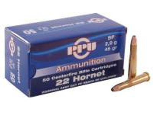 Prvi PPU 22 Hornet Ammunition PP20 45 Grain Soft Point 50 Rounds