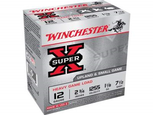 "Winchester 12 Gauge Ammunition Heavy Upland Game XU12H7 2-3/4"" 1-1/8oz #7.5 1255fps 250 rounds"