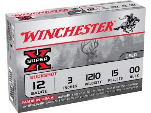 "Winchester 12 Gauge Ammunition XB12300 3"" 00 Buckshot 15 pellets 1210fps 5 rounds"
