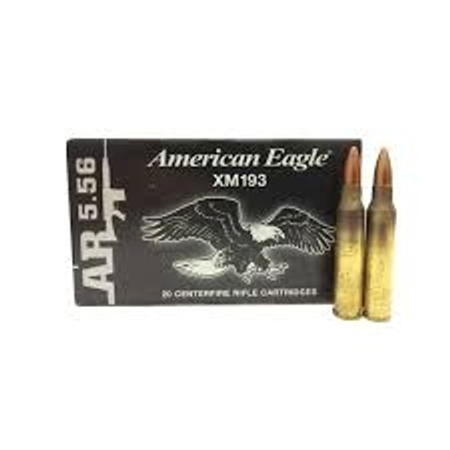 Federal 5.56x45mm NATO Ammunition XM193 55 Grain Full Metal Jacket Boat Tail 20 Rounds
