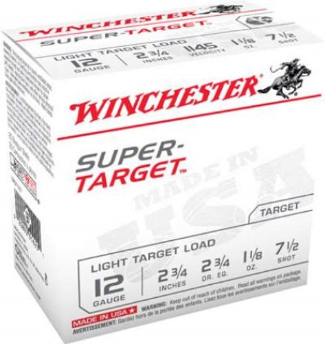 "Winchester 12 Gauge Ammunition Target TRGT127 2-3/4"" 1-1/8oz #7-1/2 shot 1145 FPS CASE 250 rounds"