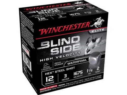 "Winchester 12 GA Blind Side High Velocity SBS123HV2 Ammunition 3"" 1-1/8 oz #2 1675fps Non-Toxic Steel Shot 250 rounds"