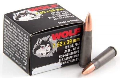 Wolf 7.62x39mm 122 Grain Full Metal Jacket Steel Full Case 1000 rounds