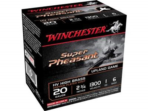 "Winchester 20 Gauge Ammunition Super Pheasant X20PH6 2-3/4"" 1oz 6 shot 1300fps 25 rounds"