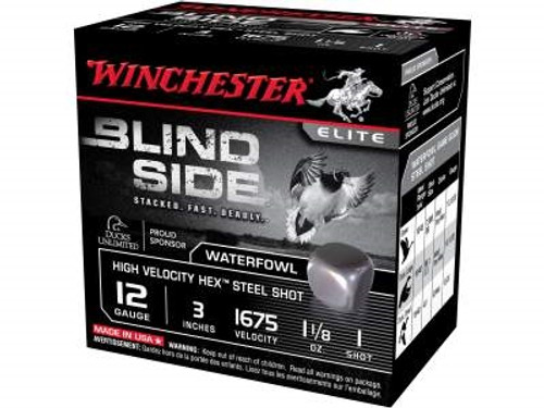 "Winchester 12 GA Blind Side High Velocity SBS123HV1 Ammunition 3"" 1-1/8 oz #1 1675fps Non-Toxic Steel Shot 250 rounds"