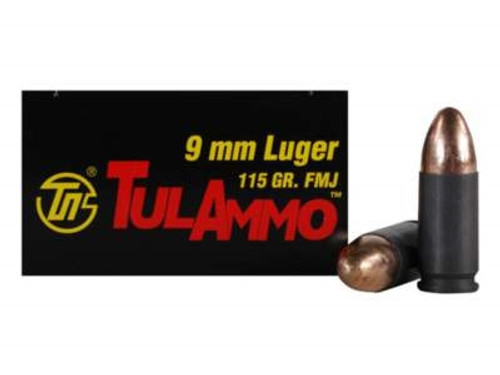 Tula 9mm Ammunition TA919150 115 Grain Full Metal Jacket Case of 1000 Rounds