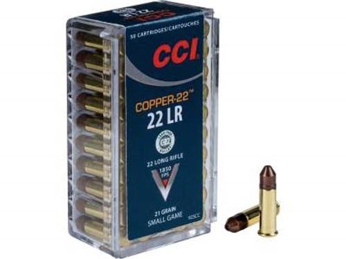 CCI 22LR Ammunition Copper 22 CCI925CC 21 Grain Copper Hollow Point Lead Free 50 rounds