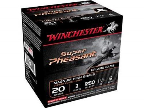 "Winchester 20 Gauge Ammunition Super Pheasant X203PH6 3"" 1-1/4oz 6 shot 1250fps 25 rounds"