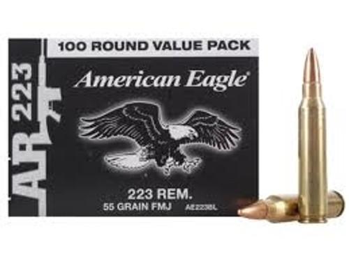 Federal 223 Rem Ammunition American Eagle AE223BL 55 Grain Full Metal Jacket CASE 500 rounds
