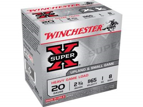 "Winchester 20 Gauge Ammunition Super-X 2-3/4"" 8 shot 1 oz 1210fps 25 rounds"