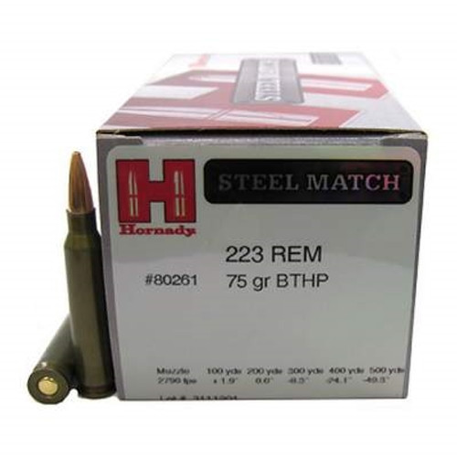 Hornady 223 Rem Ammunition Steel Match H80261 75 Grain Boat Tail Hollow Point 50 rounds