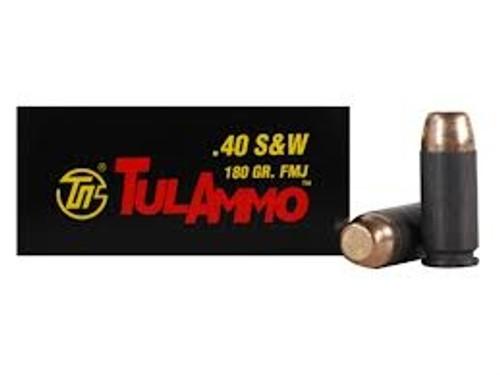 Tula 40 S&W Ammunition TA401800 180 Grain Full Metal Jacket Steel Cased 50 Rounds