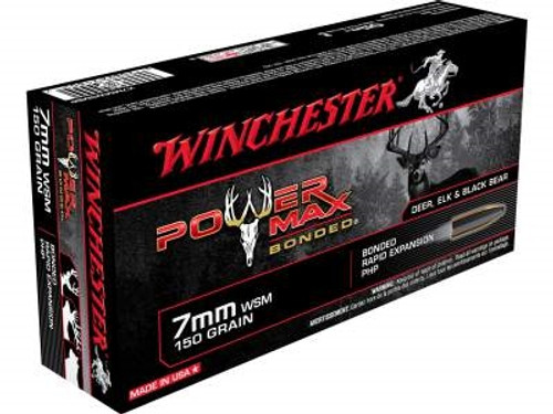 Winchester 7mm WSM Ammunition Power Max X7MMWSMBP 150 Grain Protected Hollow Point 20 rounds