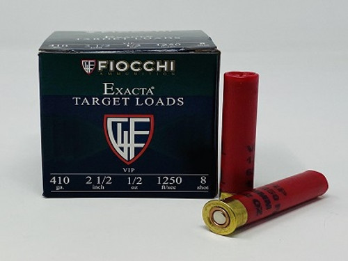 "Fiocchi 410 Bore Ammunition 410VIP8 8 Shot 2-1/2"" 1/2oz 1250fps Case of 250 Rounds"