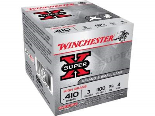 "Winchester 410 Bore Ammunition Super-X High Brass X413H4 3"" 3/4oz #4 1100FPS 25 rounds"