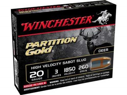 """Winchester 20 Gauge Ammunition SSP203 3"""" 260 Grain Partition Gold Sabot Slug 1850fps 5 rounds"""