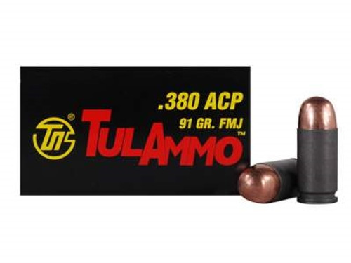 Tula 380 ACP Ammunition 91 Grain Full Metal Jacket Steel Case 50 Rounds