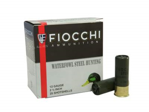 """Fiocchi 12 Gauge Ammunition 2-3/4"""" 1-1/8oz #6 Steel Shot 1375 FPS CASE 250 rounds"""