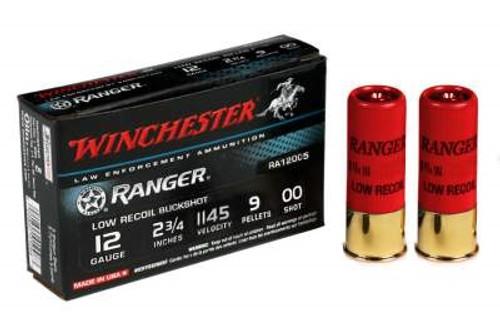 "Winchester 12 Gauge Ranger RA12005 2-3/4"" 00 Buckshot 9 Pellets 1145fps 5 rounds"